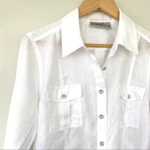 💯 linen white button down shirt